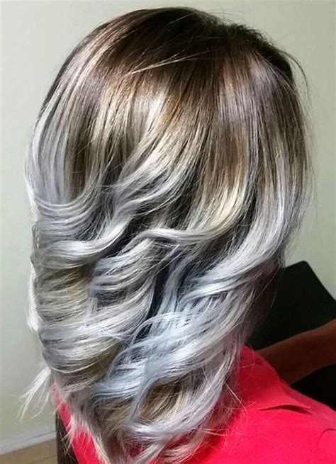 pictures of grey hairstyles with pink highlights different shades of grey highlights silver and white