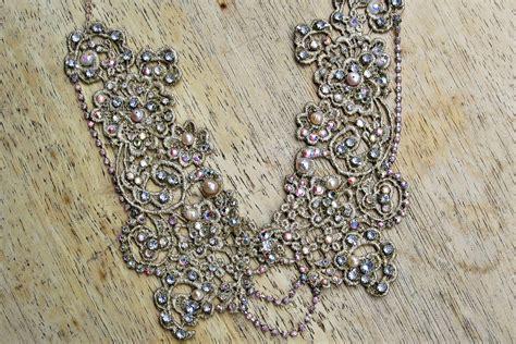 beaded lace swarovski beaded lace wedding necklace onewed
