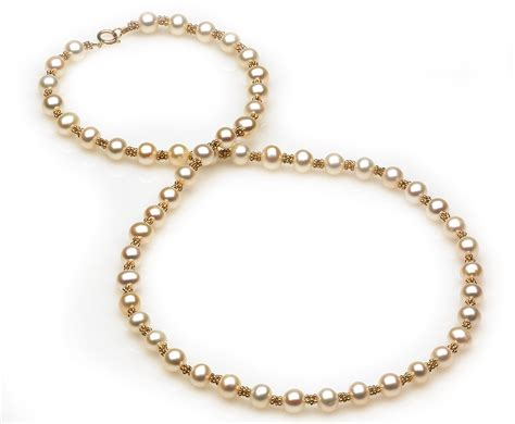 gold beaded necklace freshwater pearl and gold bead necklace american pearl