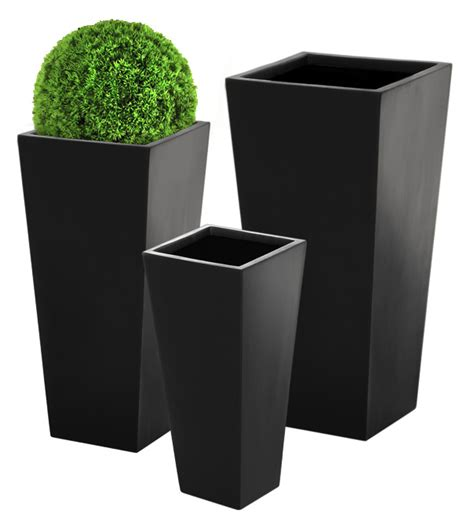 black planters flared square polystone black planter large h1m x