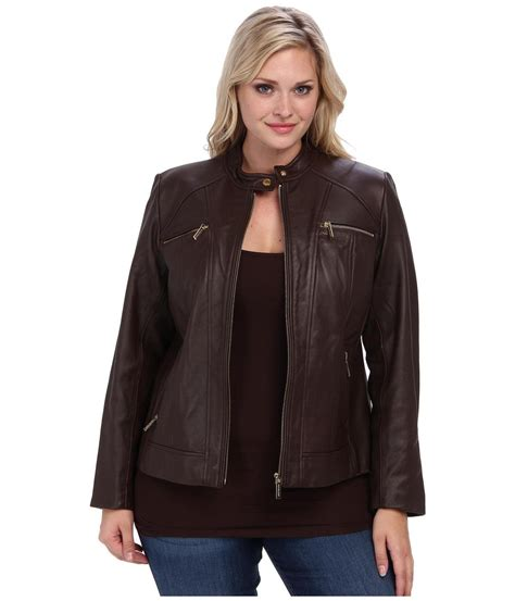 plus size leather jackets for michael michael kors plus size zip pocket leather jacket
