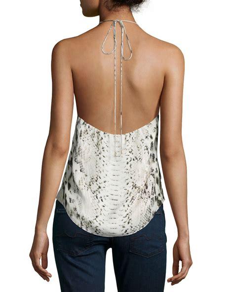 haute hippie beaded top haute hippie scarface beaded printed silk halter top in