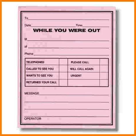 while you were out search results for printable phone message template