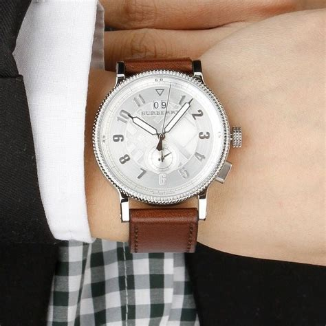 mens leather watches original burberry mens antique style silver leather band bu7681 fashion