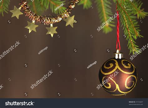 gold and brown tree decorations brown and gold tree decorations stock photo