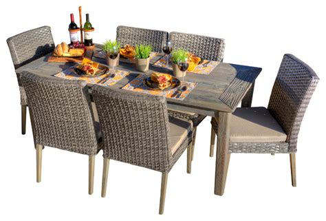 gray patio furniture sets paco 7 antique grey wood grey all weather wicker patio dining set traditional