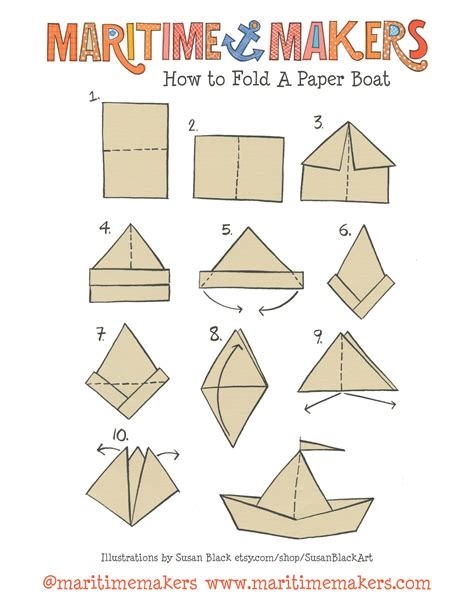 how to fold an origami maritime makers how to fold a paper boat printable