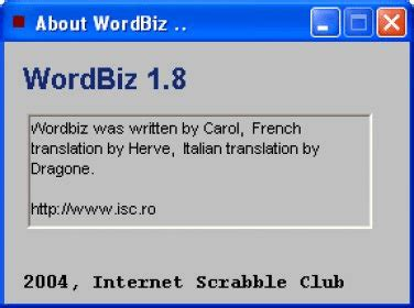 international scrabble club wordbiz client for the service called