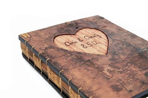 custom picture book made guest book with engraved tree bark cover by