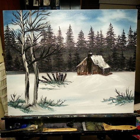bob ross painting cabin country cabin bob ross style by lashink on deviantart