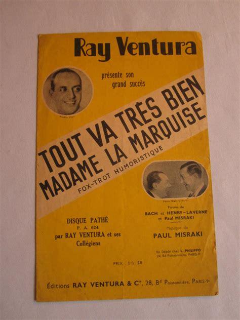ancienne affiche partition musique quot tout va tr 200 s bien madame la marquise quot ebay