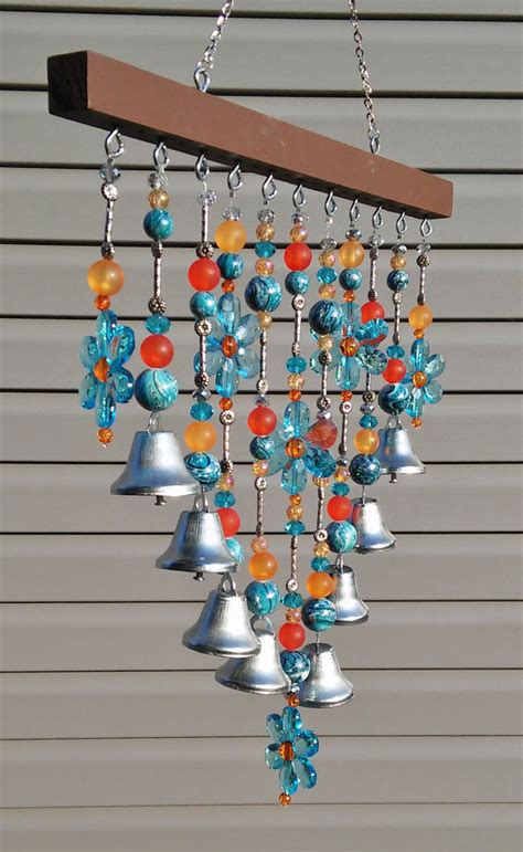 diy beaded wind chimes beaded wind chime sun catcher blue daisies and bells