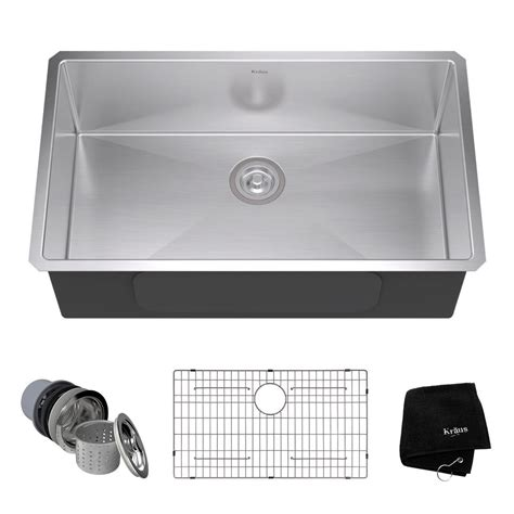 stainless steel undermount single bowl kitchen sink kraus undermount stainless steel 32 in single bowl