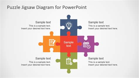 free flat puzzle jigsaw powerpoint diagram slidemodel