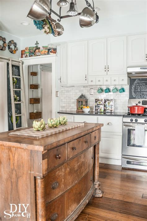 Kitchen Island Grill eclectic vintage modern farmhouse kitchen diy show off