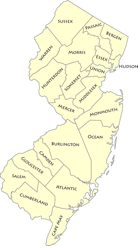 in new jersey list of counties in new jersey