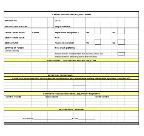 capital expenditure budget template 6 free word excel
