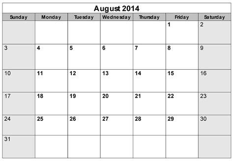 5 best images of printable blank calendar august 2014