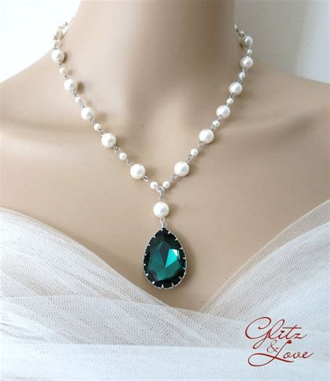 pearl bead necklace emerald teardrop pearl beaded necklace bridal