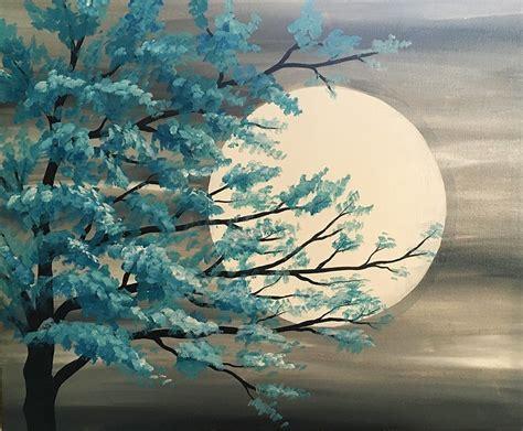 paint nite tree paint nite teal tree in moonlight