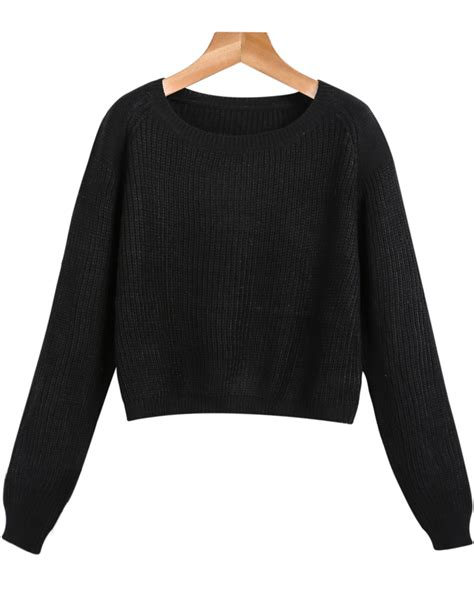 Black Sleeve Crop Cable Knit Sweater Shein Sheinside