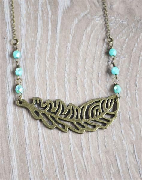 bohemian jewelry feather bohemian necklace boho jewelry mint