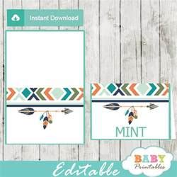 Tribal Editable Food Tents for Boys, Boho Arrow   D242   Baby Printables