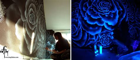 glow in the paint wall murals artist paints rooms with murals that glow blacklight