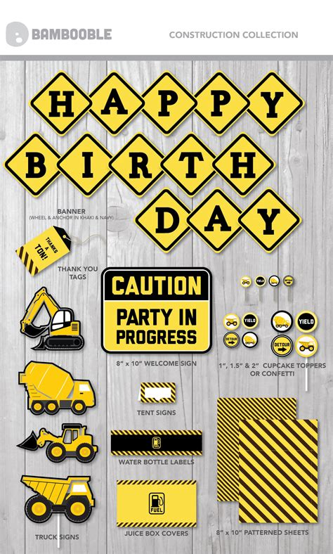 printable construction party collection