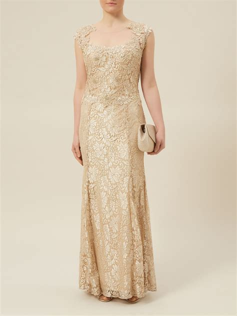 beaded evening gown jacques vert lace beaded evening dress in gold neutral