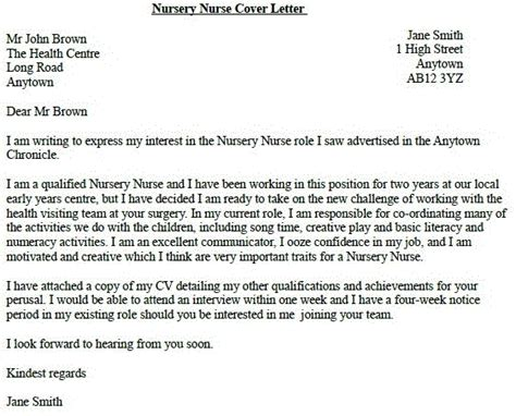 nursery nurse job application cover letter example