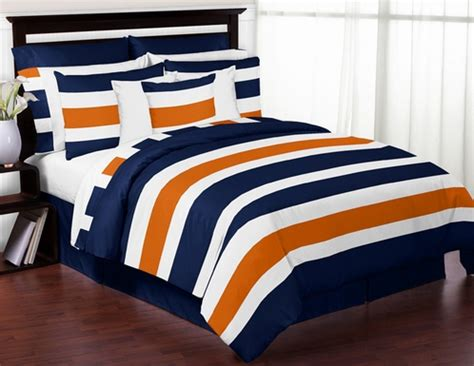 orange and blue comforter set navy blue and orange stripe 4pc bedding set