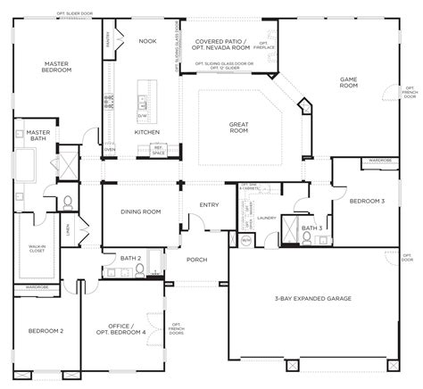 one story house plans with 4 bedrooms floorplan 2 3 4 bedrooms 3 bathrooms 3400 square home in 2018