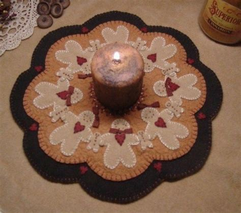 Penny Rugs Free Patterns by Penny Rug Candle Mat Pattern Gingerbread Applique Ebay