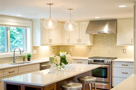 bright kitchen lights light kitchen transitional with tile backsplash