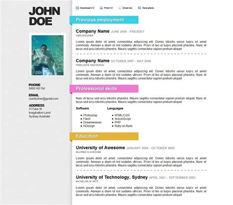 awesome online resume cv themeforest