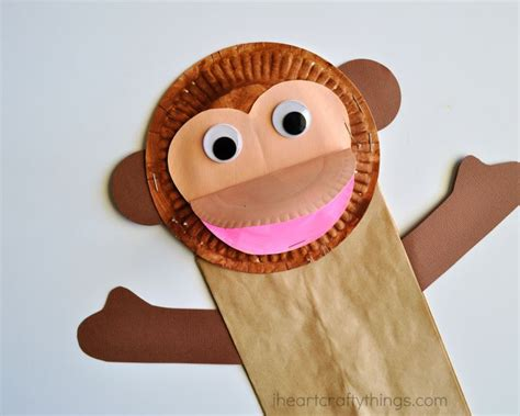 monkey paper plate craft paper bag monkey craft for i crafty things