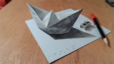 craft drawing paper drawing a 3d paper ship optical illusion by vamos