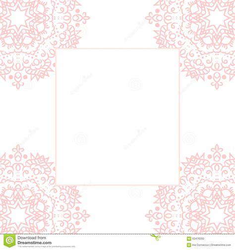 baby pink mandala card template background stock vector