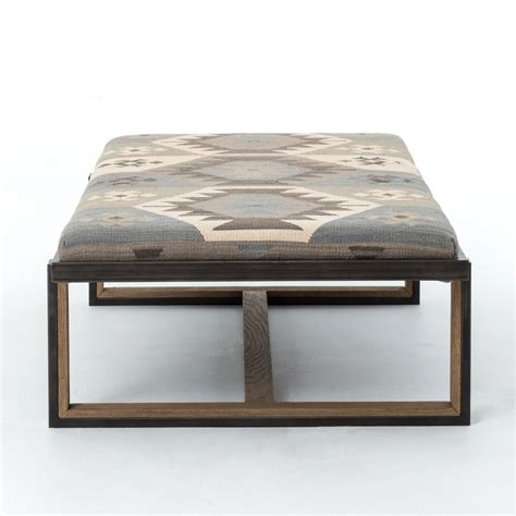 kilim upholstered ottoman eclectic iron and kilim upholstered coffee table ottoman