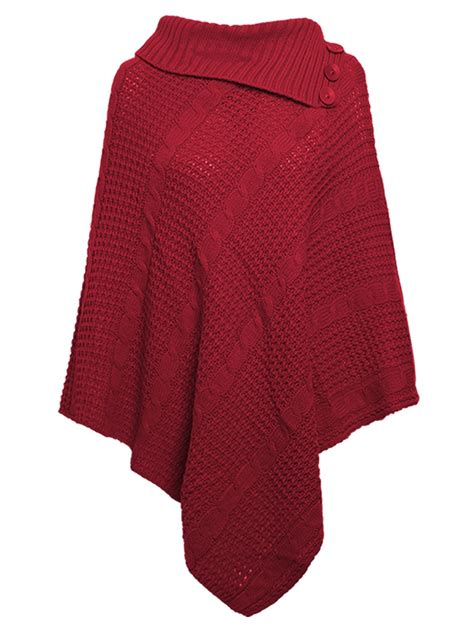 womens knit poncho womens cable knitted poncho winter 3 button wrap