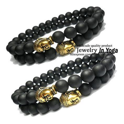 mens gold bead bracelet 1 black matte onyx beaded bracelet with gold buddha