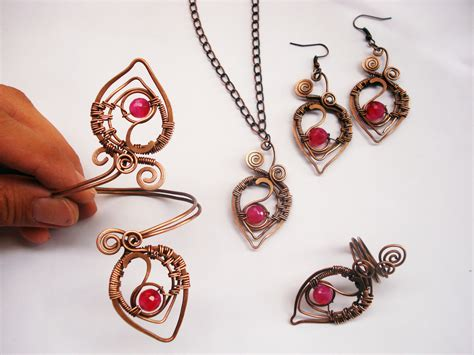 wrap jewelry handmade set wire wrapping with copper wire and