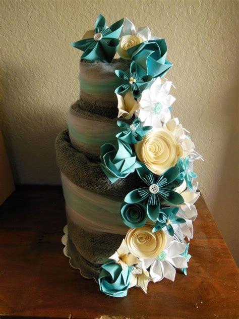 towel origami flower wedding towel cake with origami flowers