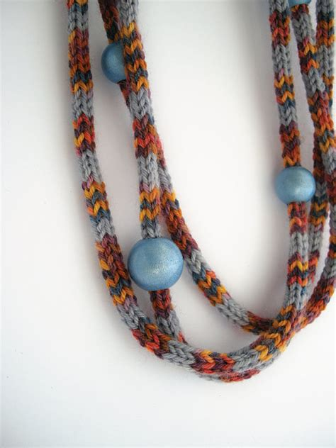 knitted necklace multicolored knitted necklace blue wooden chunky