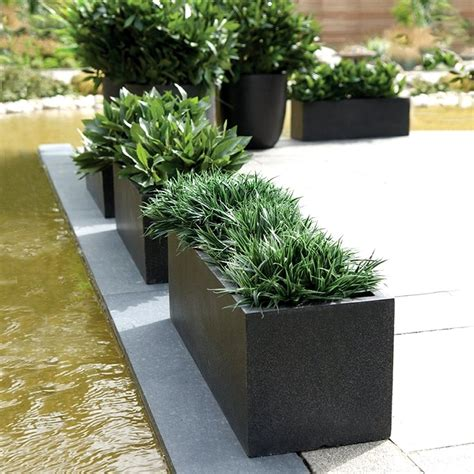 black planters rectangular planters cadix black low rectangular