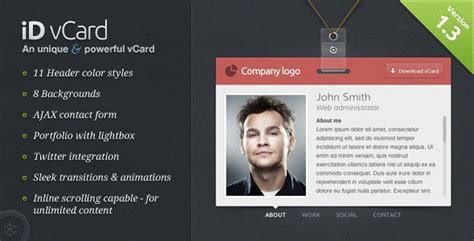 card websites for free free business card vcard html website templates
