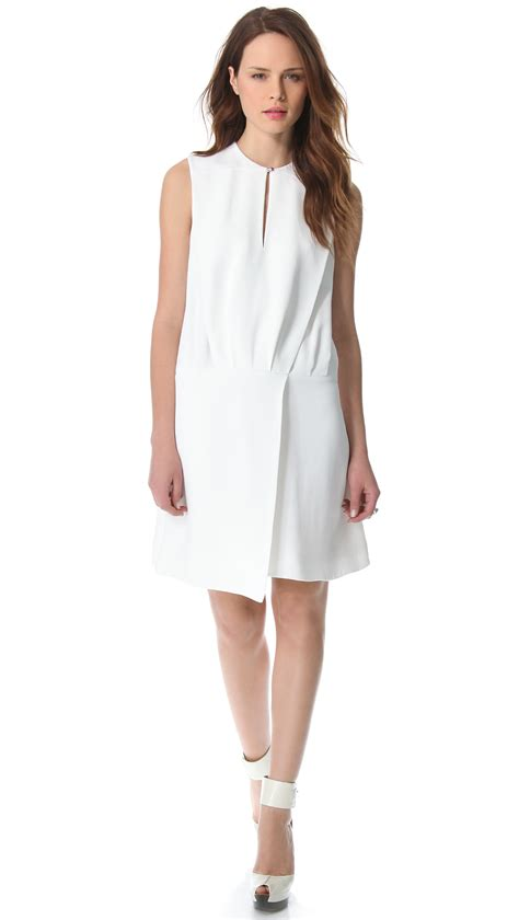 origami dresses for mugler sleeveless origami dress in white lyst