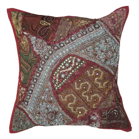 bead pillow 16x16 quot heavy bead works embroidery bed pillow