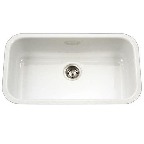 white bowl kitchen sink houzer porcela series undermount porcelain enamel steel 31